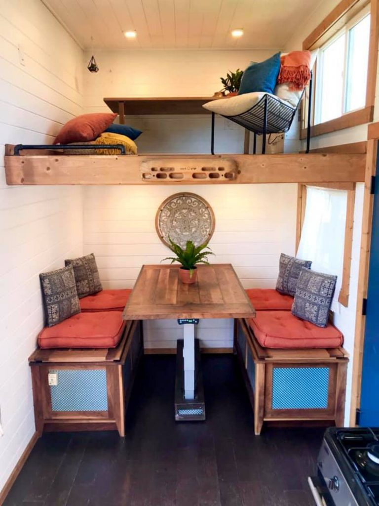 Dining table with work area above