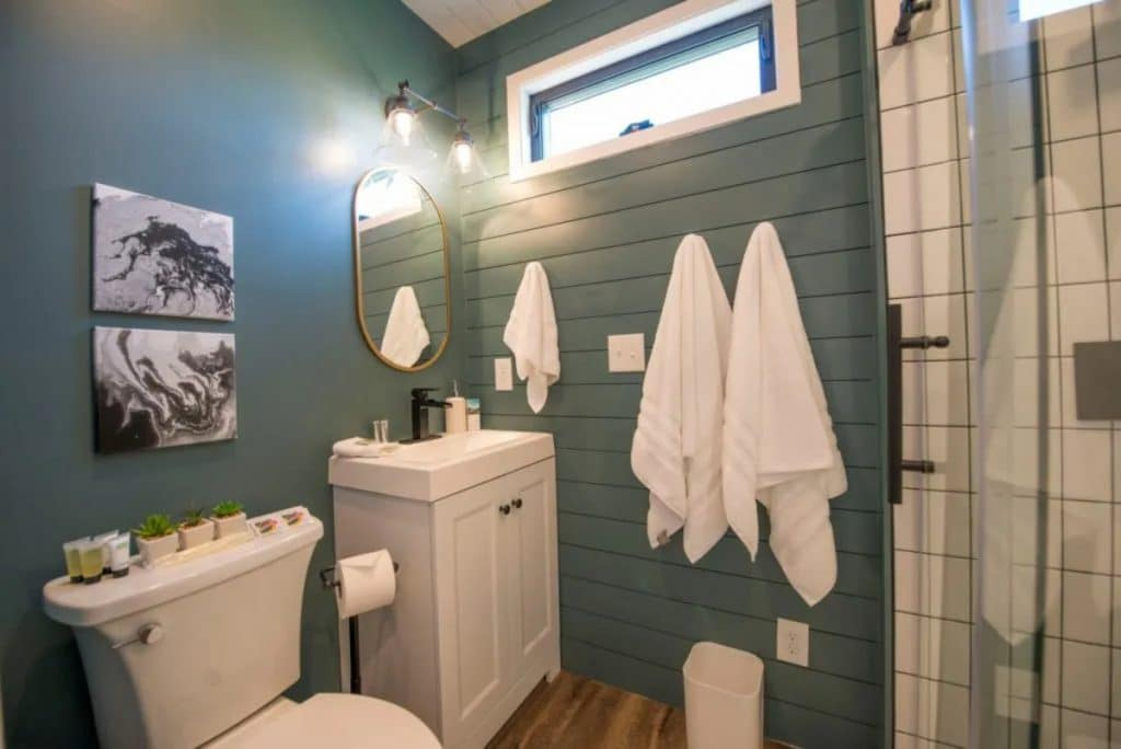 Teal wall bathroom