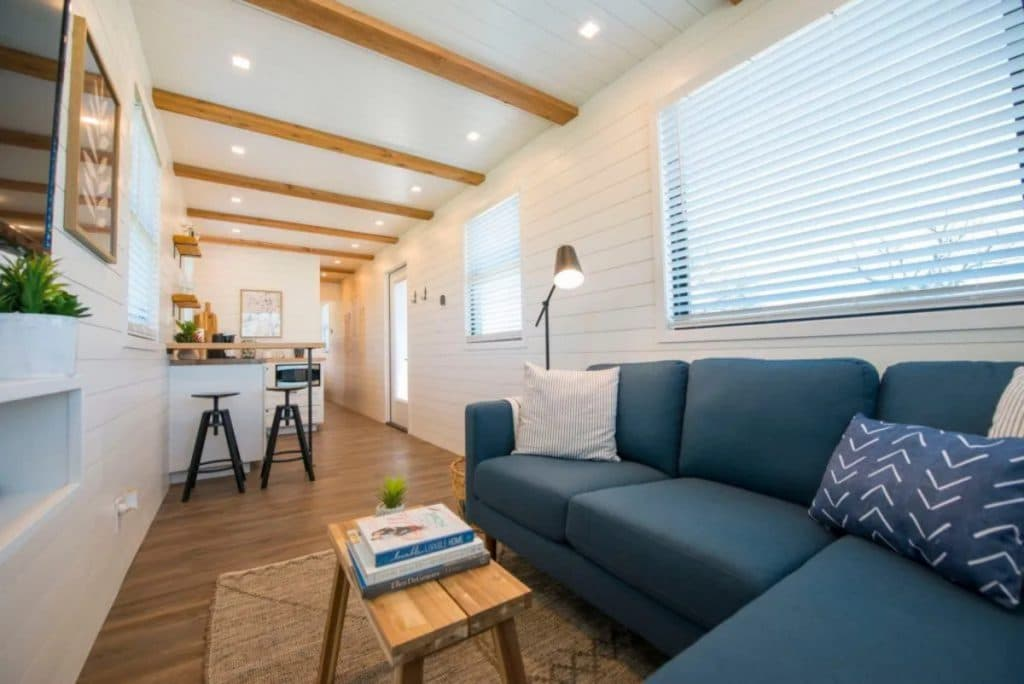 Blue sofa in tiny house