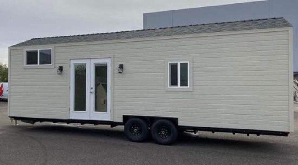 White tiny home exterior