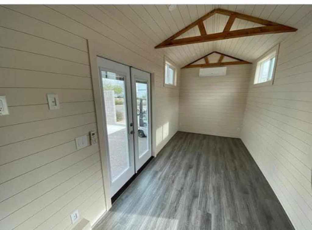 Wooden beams in tiny home