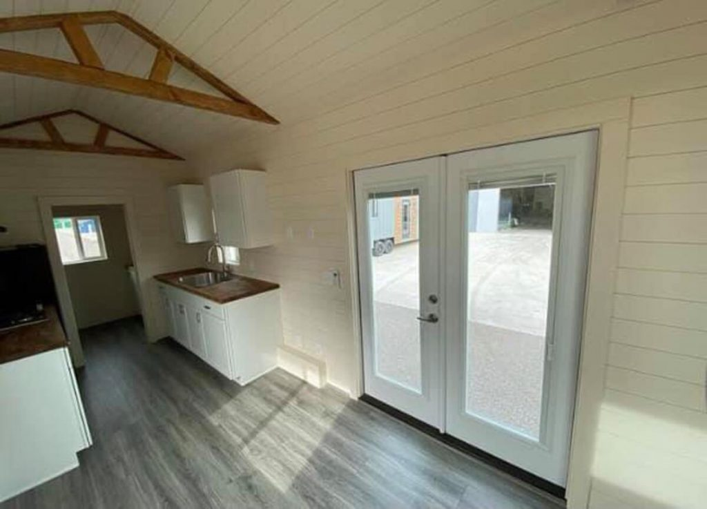 French doors in tiny home