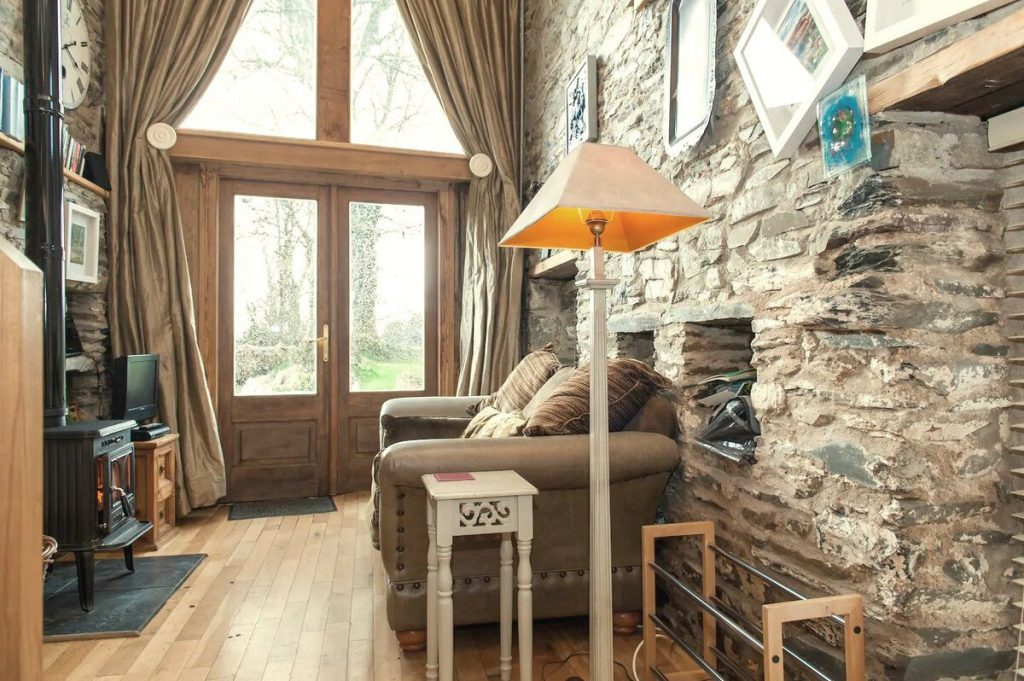 Reading nook of stone cottage