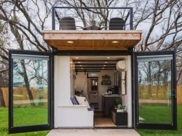 Tiny house with open doors