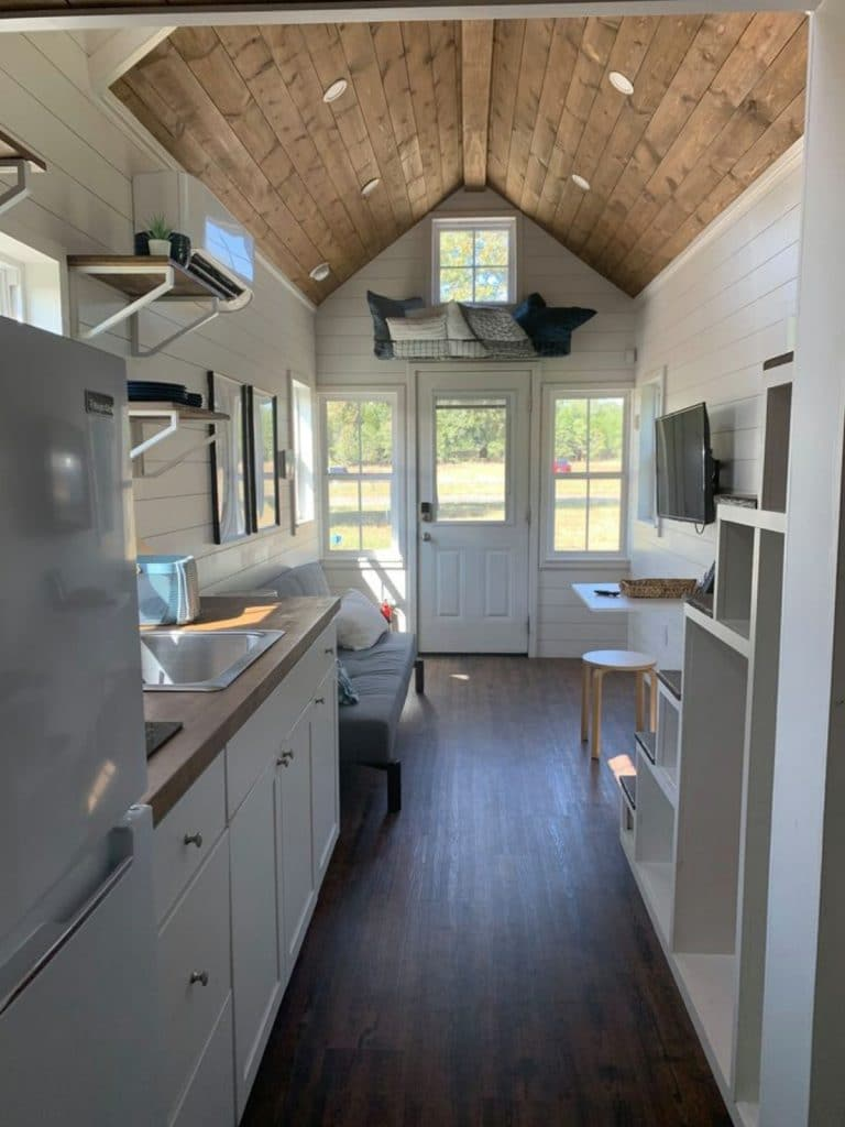 View to front door of tiny home