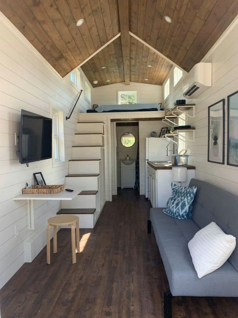 View into tiny house living area