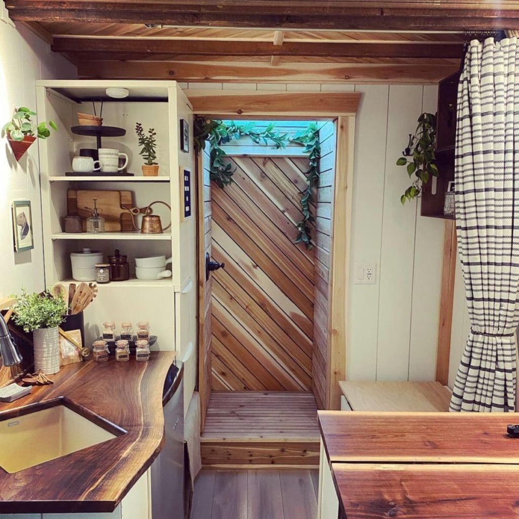 View into kitchen of tiny house