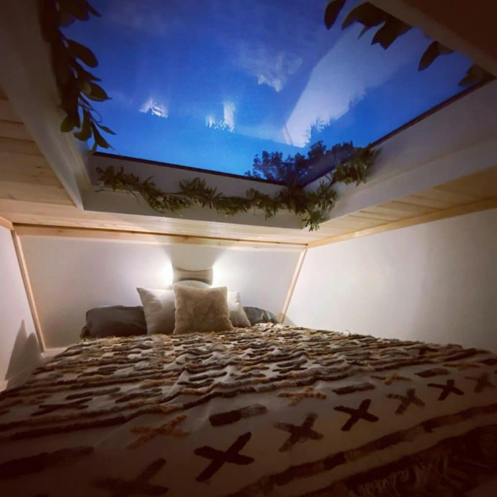 Loft bed with sunlight