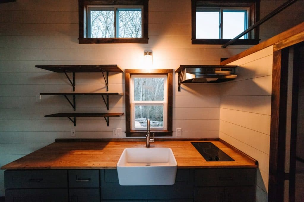 Farmhouse sink in counter
