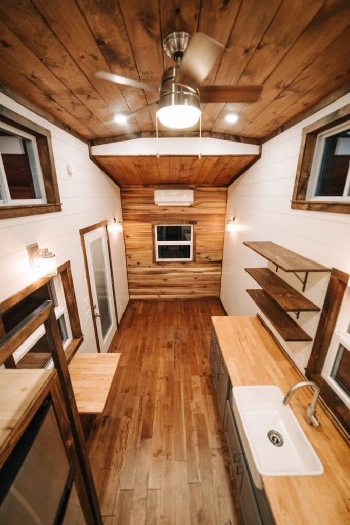 View down tiny house living area
