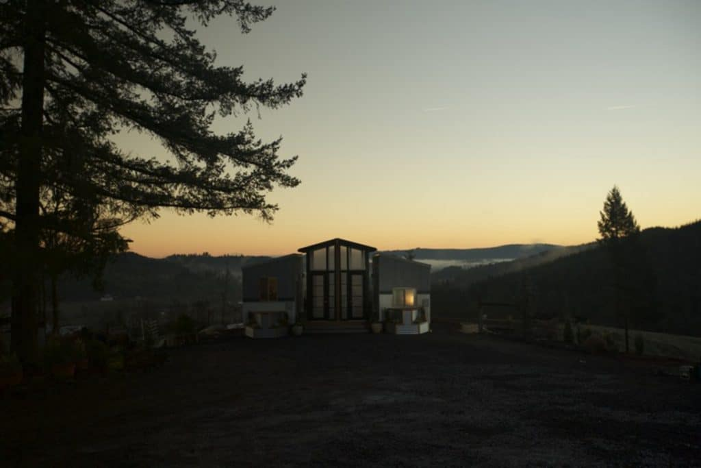 The Ohana duplex container after dark