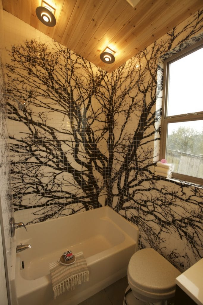 Tree made from tile in bathroom
