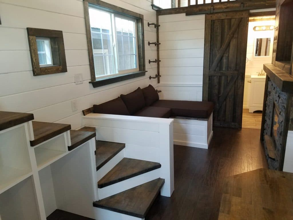 Sofa bench seat in tiny house