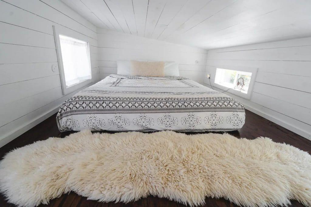 Loft bedroom with rug