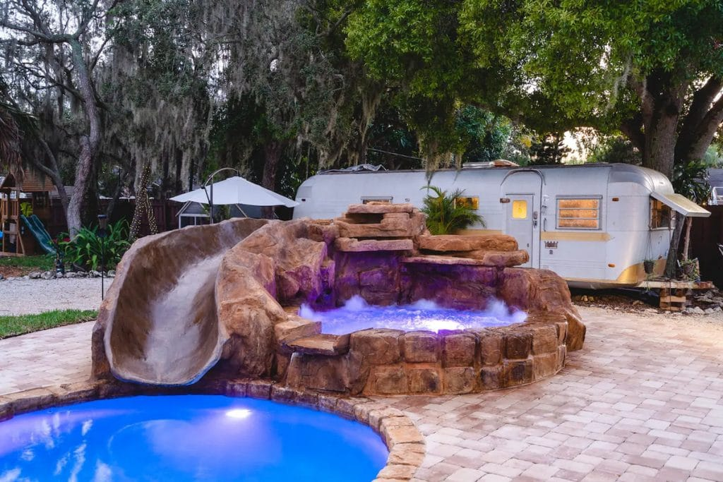 Hot tub with slide