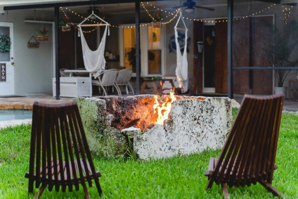Deck chairs by fire pit