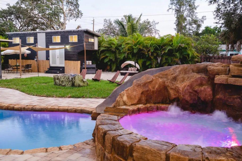 Hot tub by pool