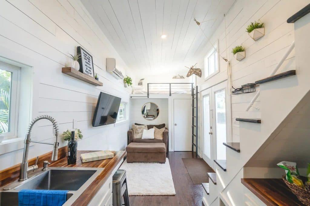 Living area of tiny house paradise