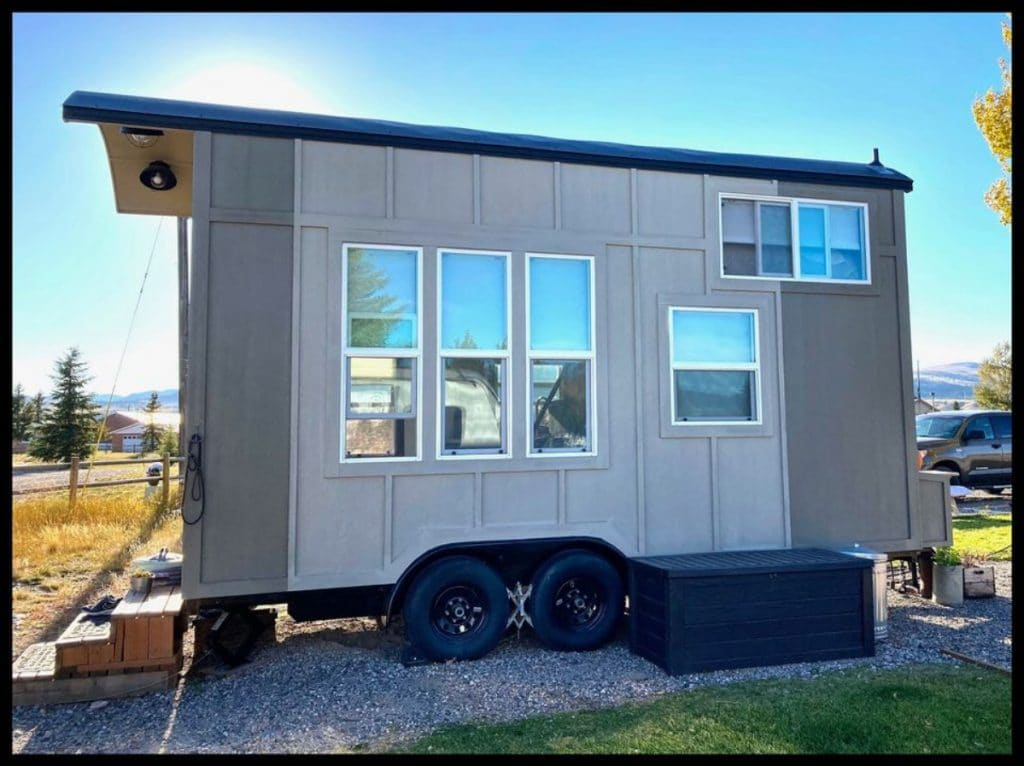 Side of tiny house with windows