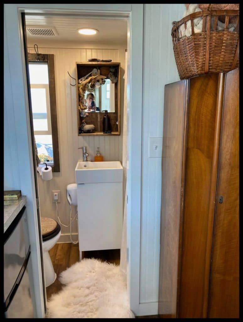 View into tiny bathroom