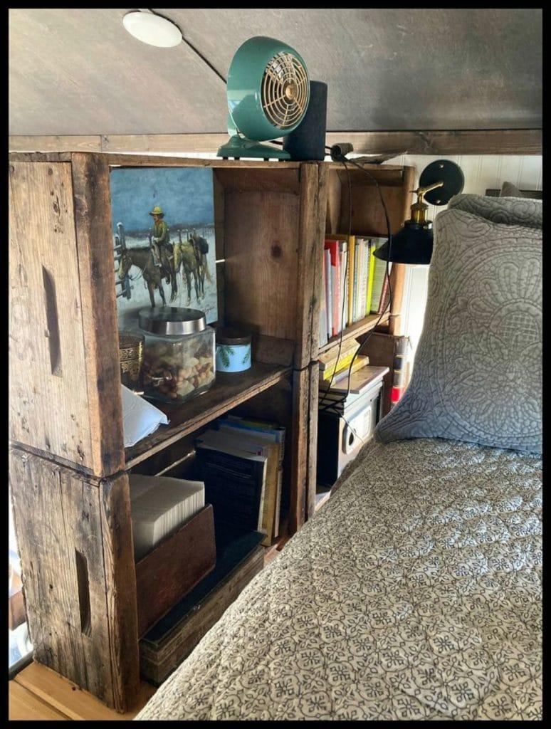 Tiny house loft bedroom storage