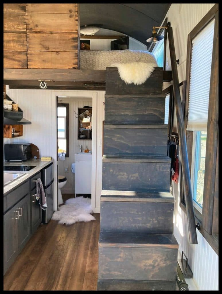 Stairs to loft in tiny