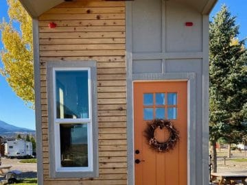 Front door on tiny house on wheels