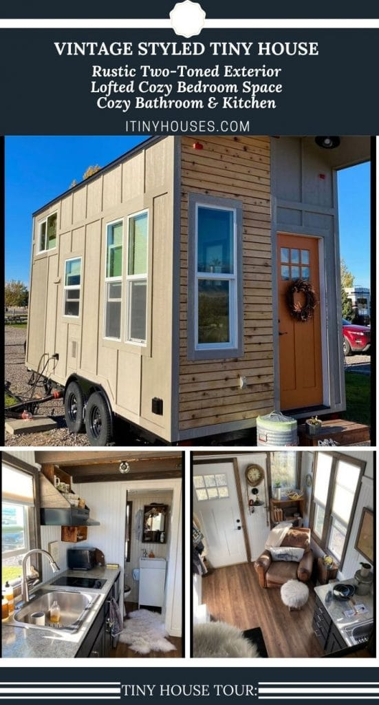 Vintage tiny house on wheels collage