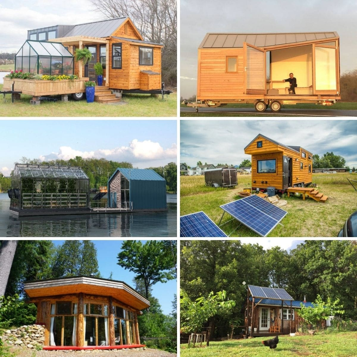 Collage photo featuring several of the sustainable tiny houses from the post.