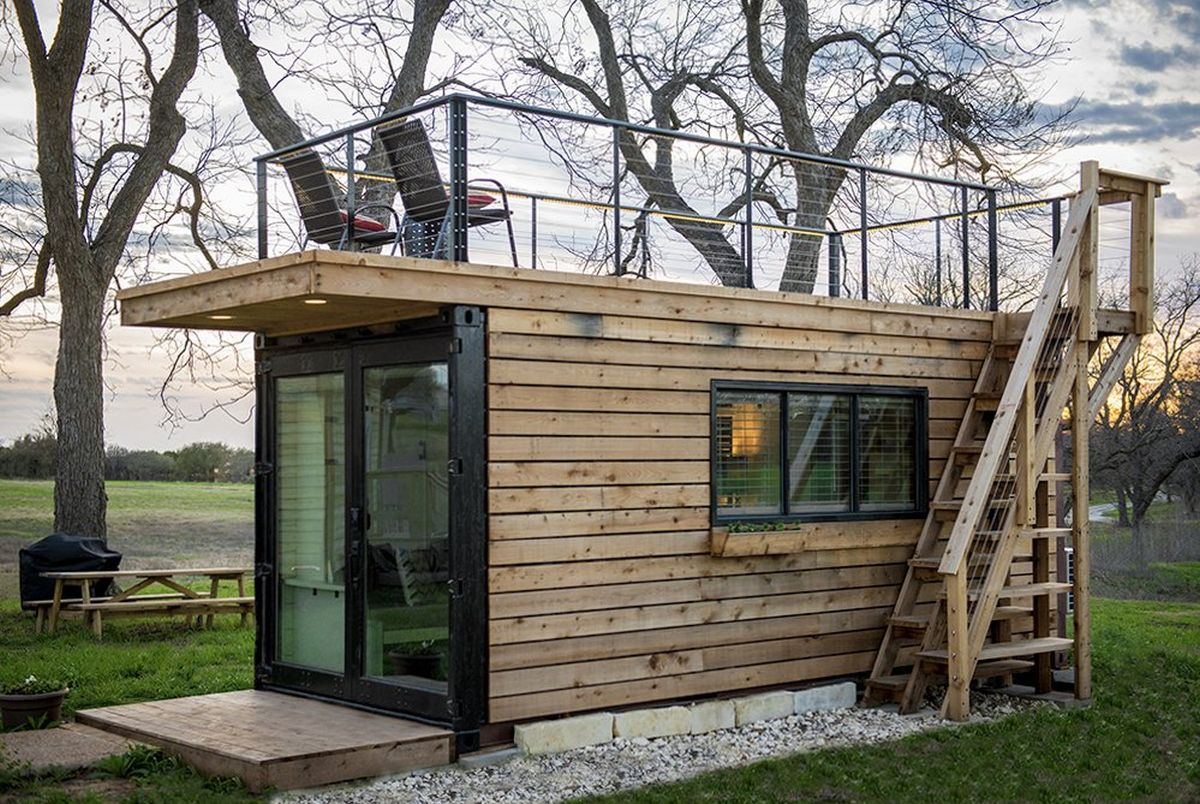 Tiny Shipping Container Home With Rooftop Deck