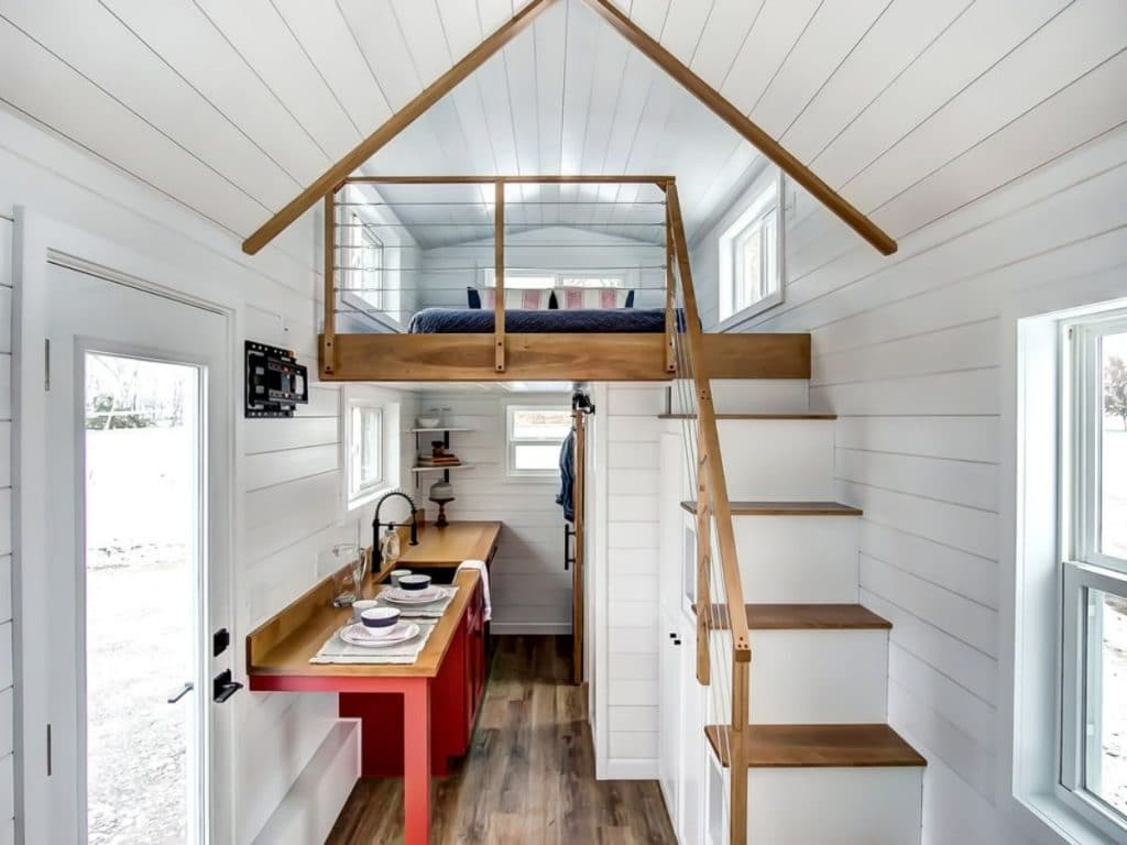 View of loft in tiny house