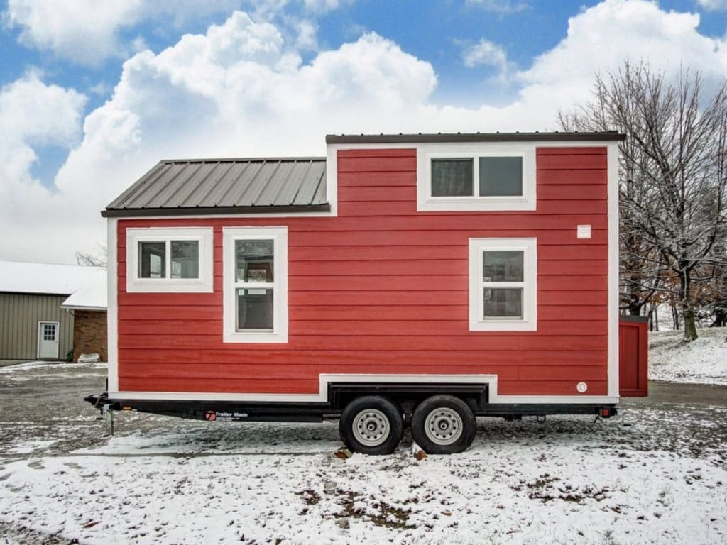 Side of red tiny house