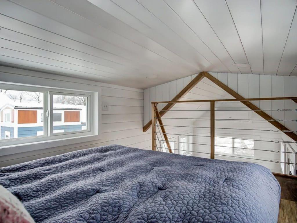 Blue bed in loft
