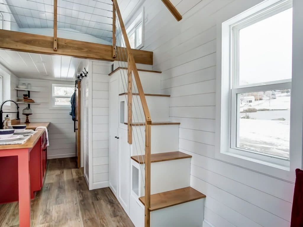 Currituck tiny house loft stairs