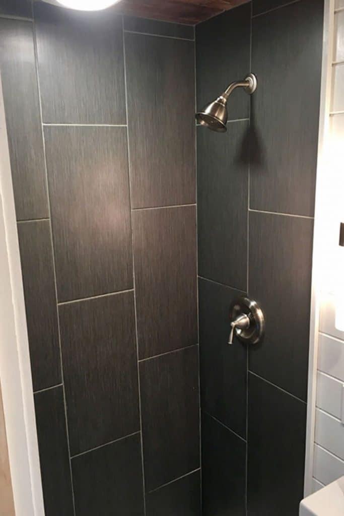 Grey tiled bathroom