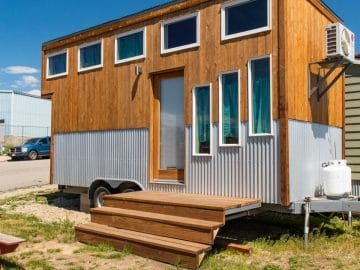 Two toned tiny house on wheels