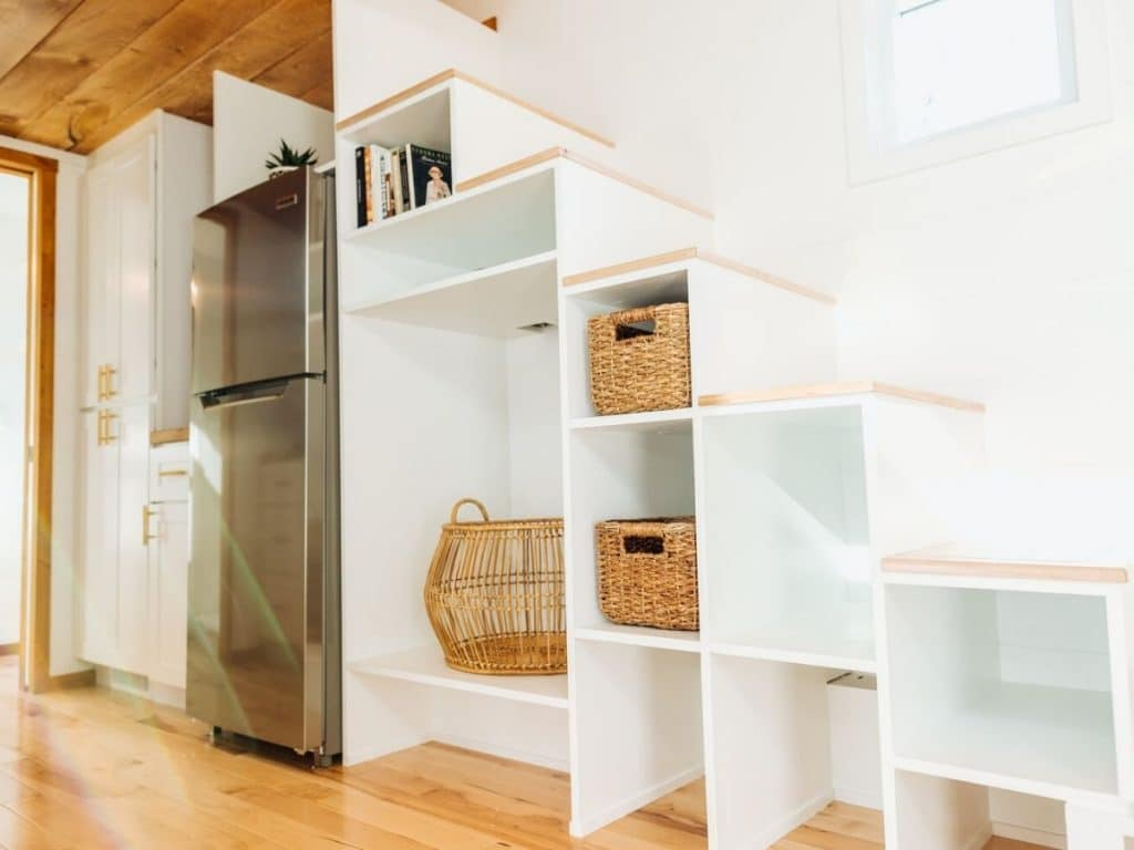 Shelves under stairs