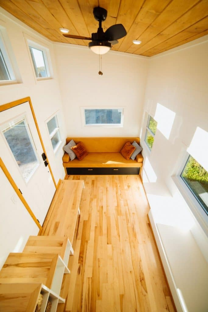 View into tiny house living room