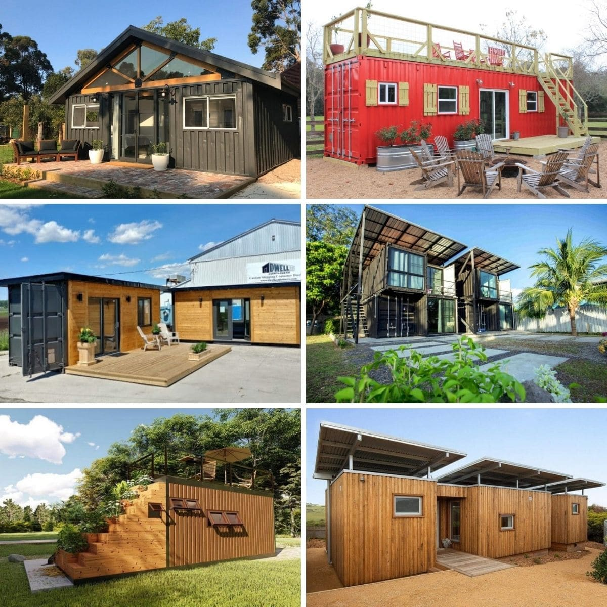 Collage photo featuring various container tiny houses form the post.