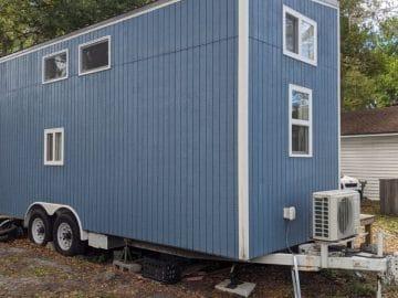 Blue tiny home exterior