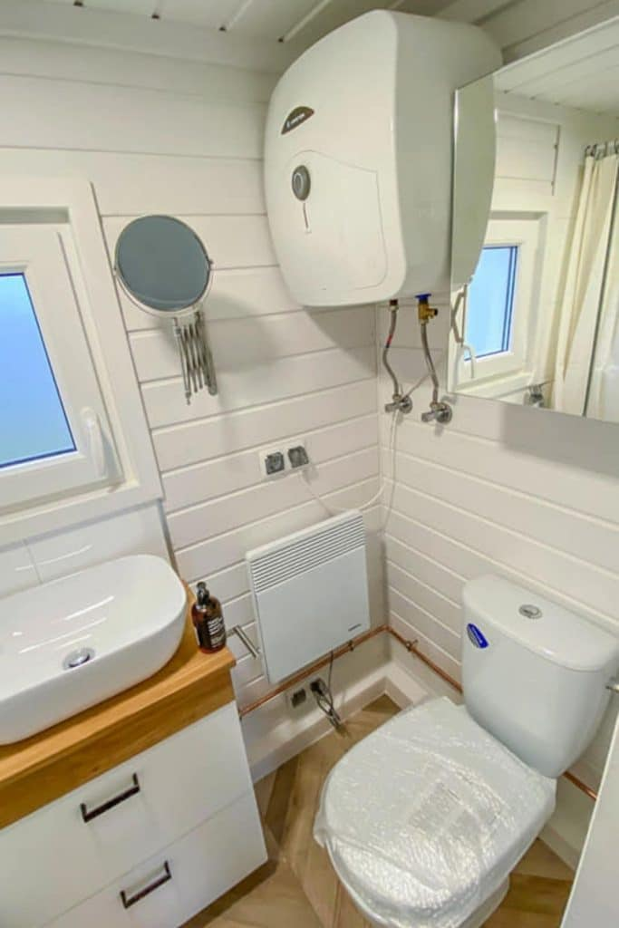 White tiny house bathroom