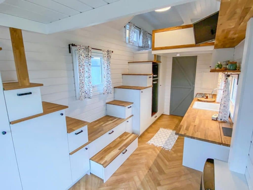 Stair storage in tiny house