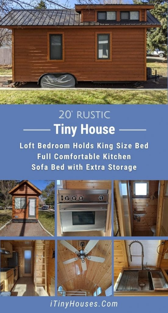 Natural wood tiny home collage