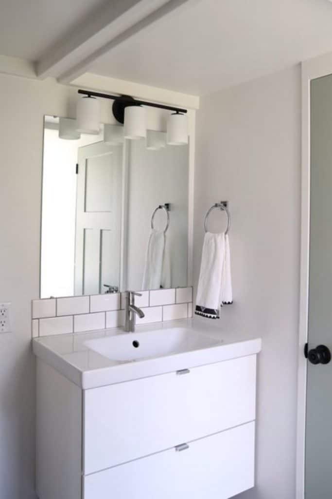 White vanity in tiny house