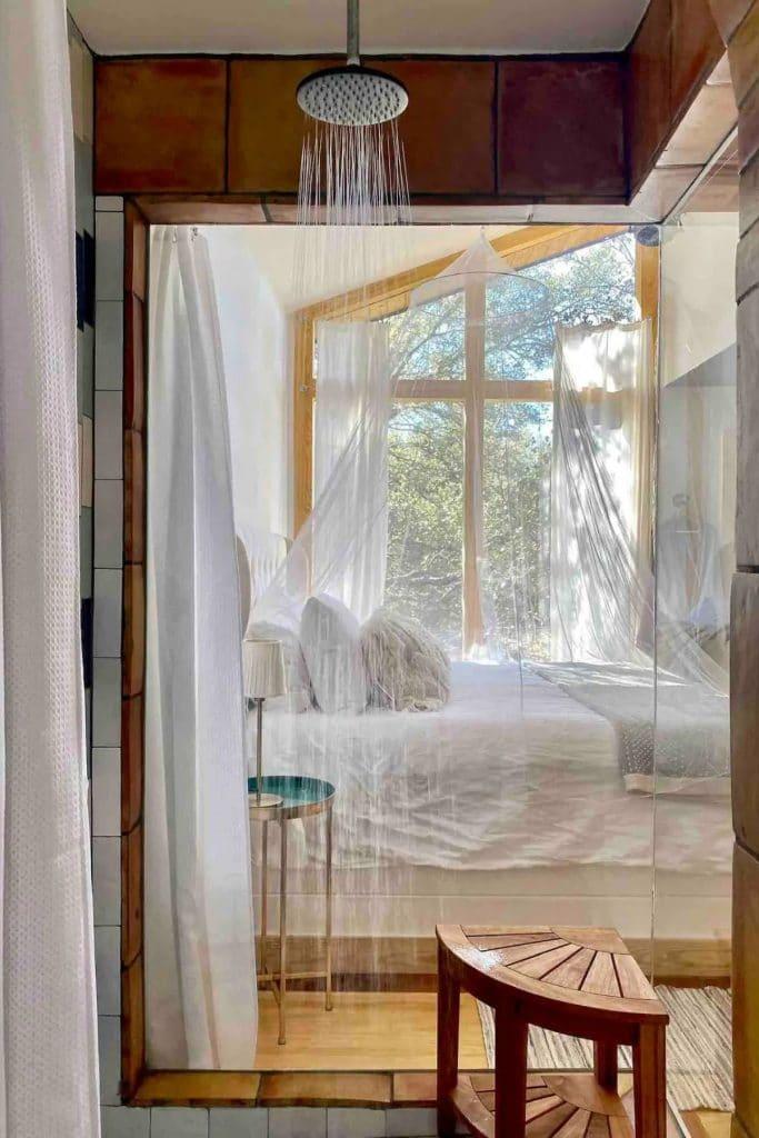 Curtain in Acorn tiny home bathroom