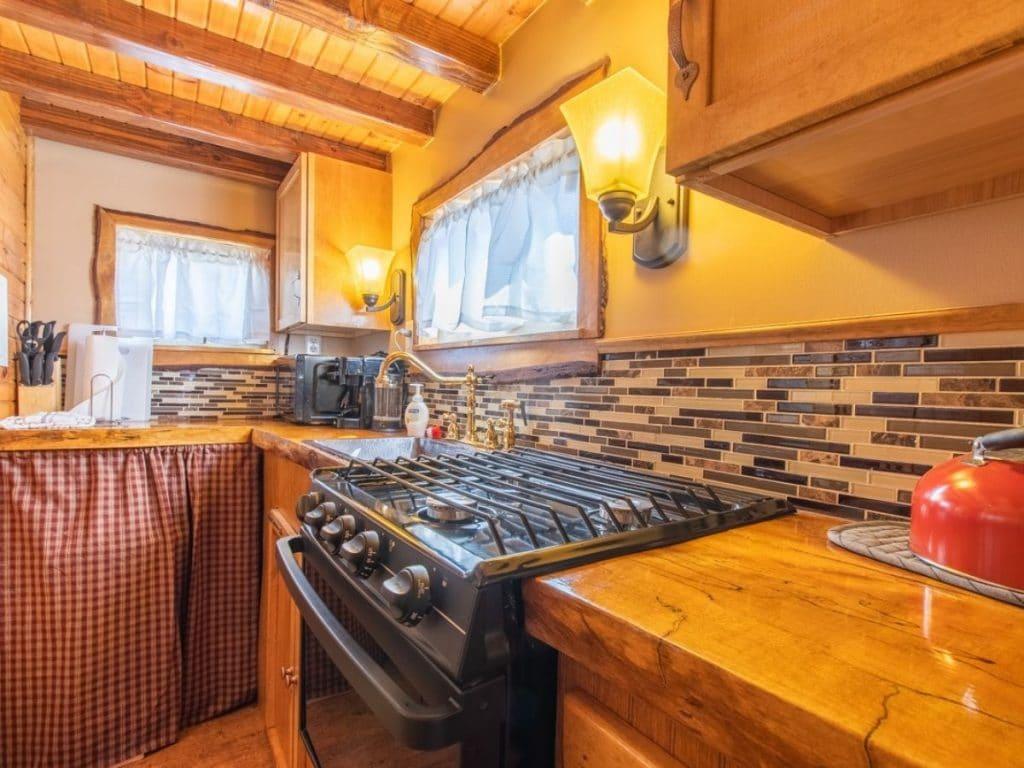 Log cabin kitchen stove