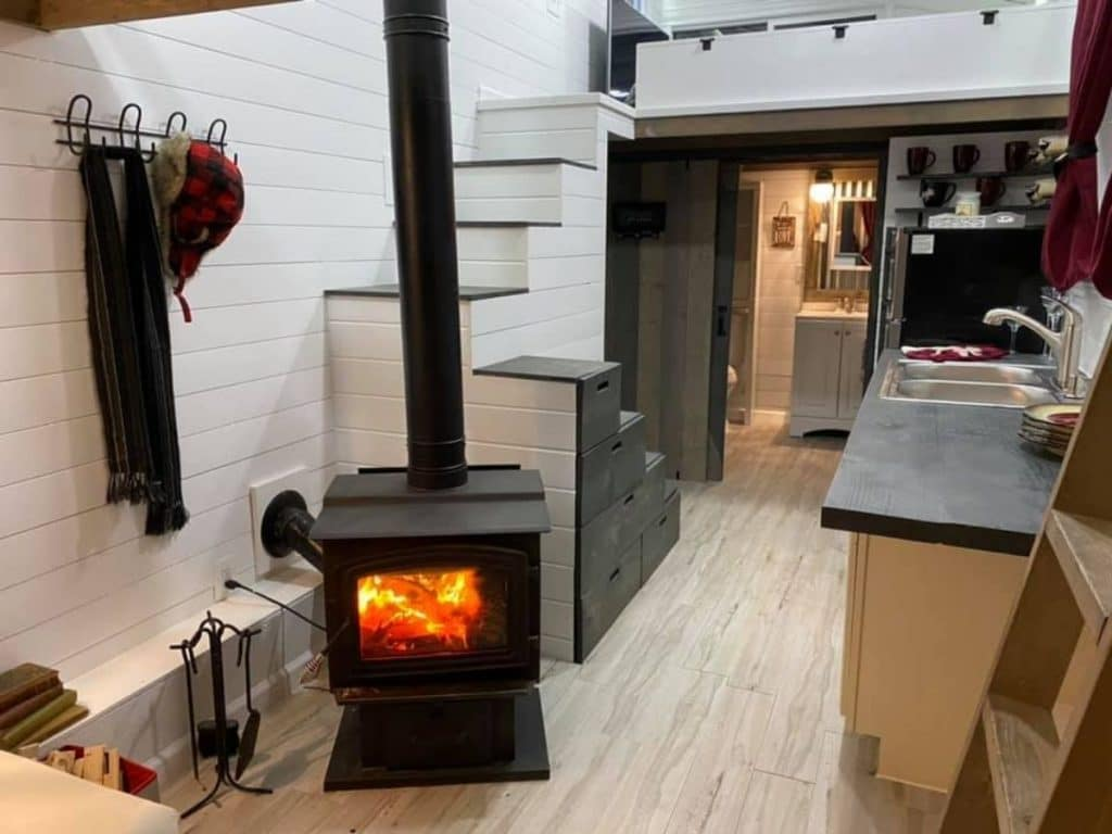 Fireplace in tiny house