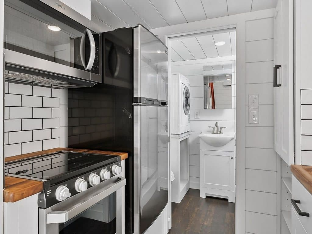 Tiny house kitchen with tile