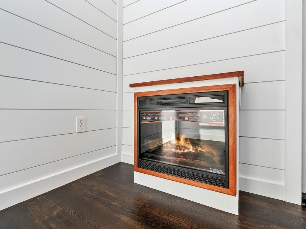 Fireplace on wall