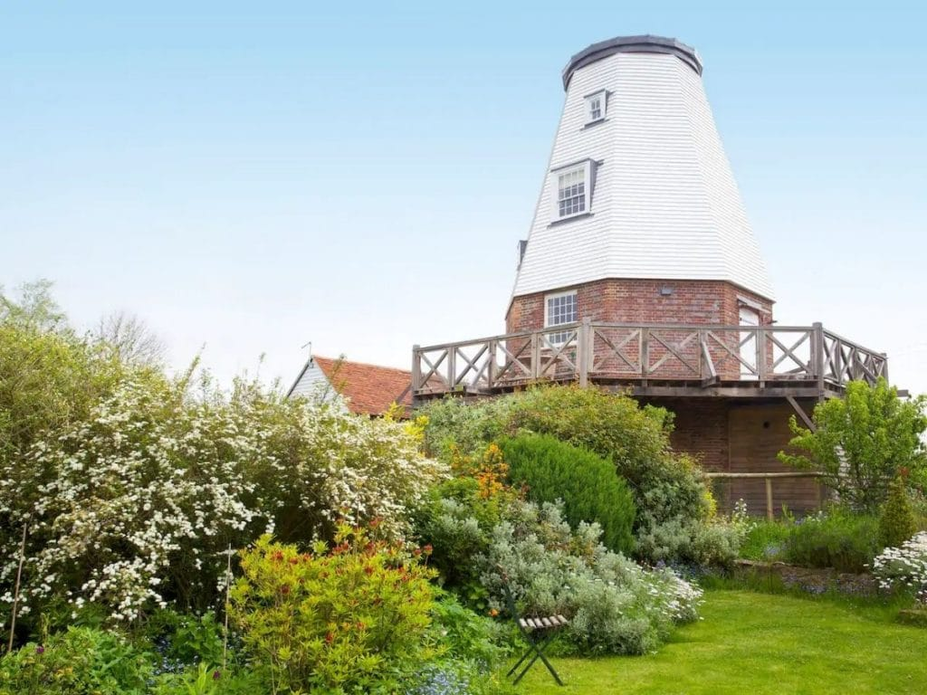 Windmill tiny house in garden